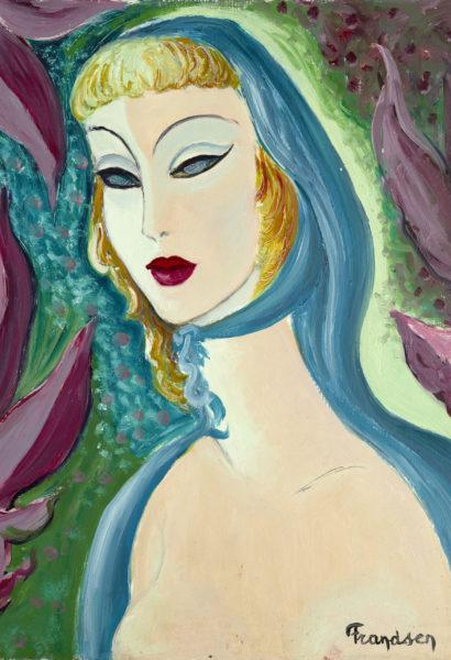 FRANDSEN Sans titre jeune fille blonde au foulard bleu  sur isorel 55x45cm